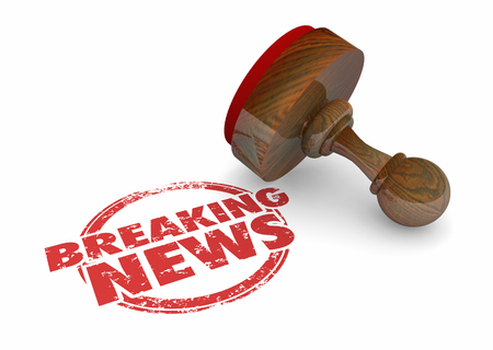 Breaking News Announcement Update Word Stamp 3d Illustration