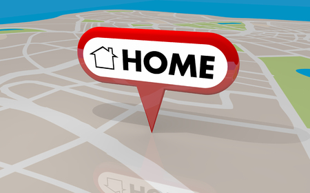 Home House Base Comfort Starting Place Origin Map Pin 3d Illustration