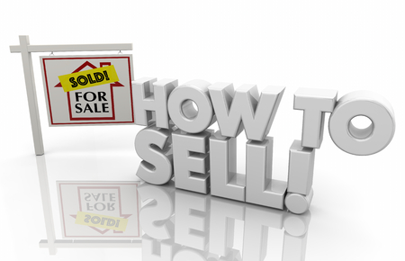 How to Sell Home House for Sale Sign 3d Illustration Standard-Bild - 106859516