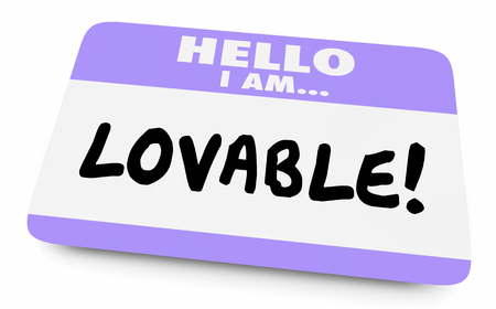 Lovable Adorable Worthy Affection Name Tag 3d Illustration 写真素材