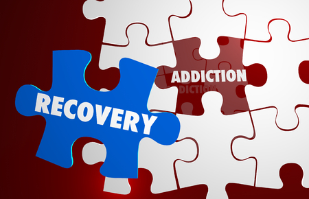 Addiction Recovery Kick Habit Puzzle Words 3d Illustration