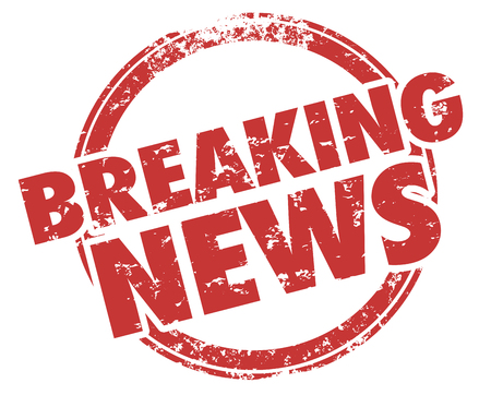 Breaking News Latest Updates Announcements Stamp Illustration Stock Photo
