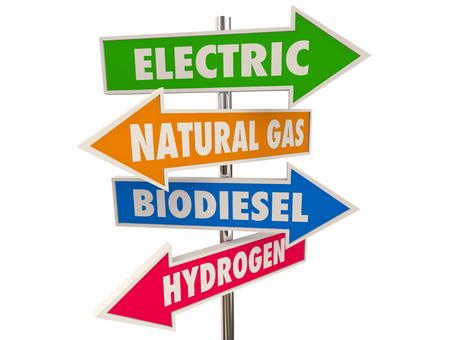 Electric Alternative Power Fuel Natural Gas Biodiesel Hydrogen Arrow Signs 3d Illustration
