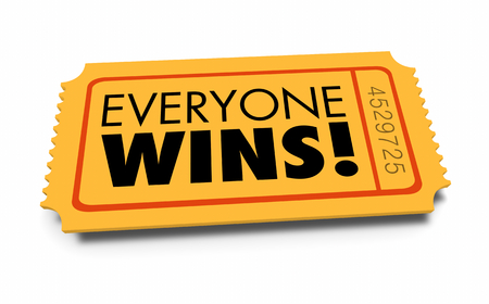 Everyone Wins Ticket Contest Teamwork Everybody Winner 3d Illustration Stock fotó