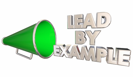 Lead by Example Manage Team Bullhorn Megaphone 3d Illustration