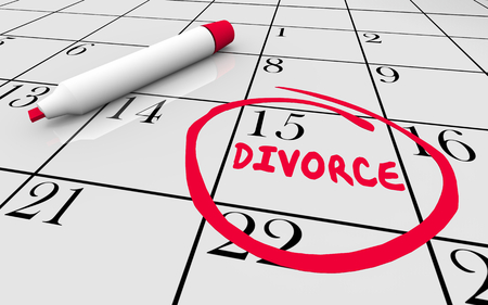 Divorce End Marriage Court Day Circled Calendar Date 3d Illustration 스톡 콘텐츠