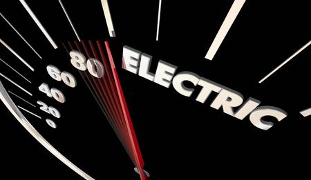 Electric Car Vehicle Automobile Charging Speedometer Word 3d Illustration Stock fotó