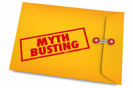 Myth Busting Facts Find Truth Reality Envelope 3d Illustration Foto de archivo