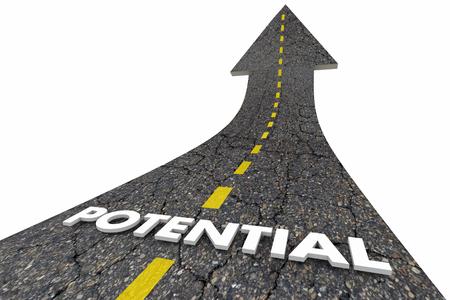 Potenzielle Reichweite Volle mögliche Gelegenheit Road Word 3d Illustration