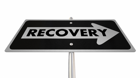 Recovery Getting Better Improve Arrow Road Sign 3d Illustration