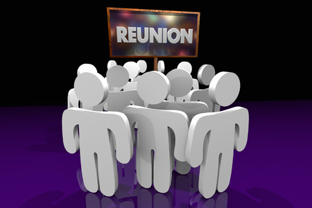 Reunion People Coming Back Together Homecoming Sign 3d Illustration Stock Photo