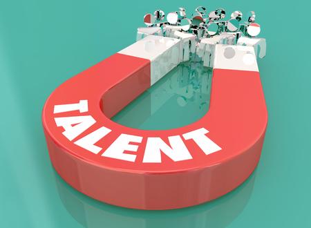 Aimant d'expérience de compétence de talent tirant des gens Illustration 3d