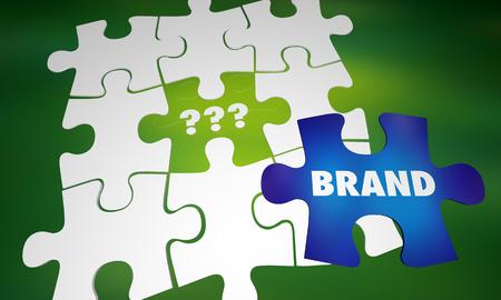 Merk versus onbekende generieke bedrijf product puzzel woorden 3d illustratie Stockfoto