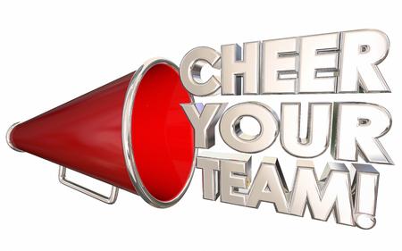 Cheer Your Team Motivate Encourage Bullhorn Megaphone 3d Illustration Banco de Imagens