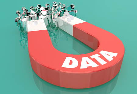 Data Information Records Magnet Pulling People 3d Illustration