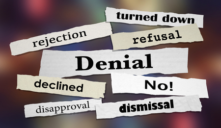 Denial Rejection No Answer Denied Rejected Headlines 3d Illustration