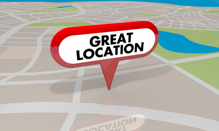 Great Location Spot Place Good Area Map Pin 3d Illustration Stock Photo