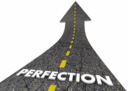 Perfection Great Outcome Best 100 Percent Road Word 3d Illustration