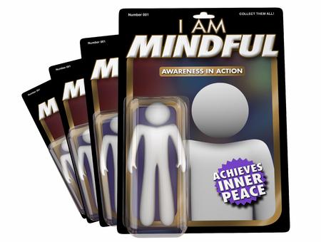 I Am Mindful Self Aware Mindfulness Action Figure 3d Illustration