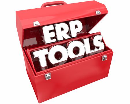 ERP Enterprise Resource Planning Tools Toolbox 3d Illustration 版權商用圖片