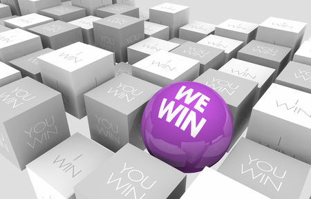 We Win You I Working Together Teamwork Sphere in Cubes 3d Illustration