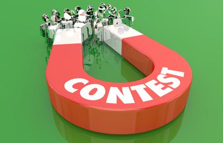 Contest Competition Enter Magnet Pulling People 3d Illustration