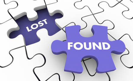 Lost and Found Searching Finding Missing Items Puzzle 3d Illustration Stock Photo