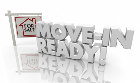 Move-in Ready House Home for Sale Sign 3d Illustration Stock Photo