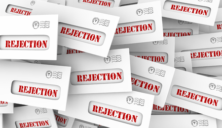 Rejection Bad News Rejected Letter Envelopes 3d Illustration Stock fotó