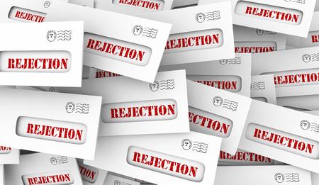 Rejection Bad News Rejected Letter Envelopes 3d Illustration Stock Photo