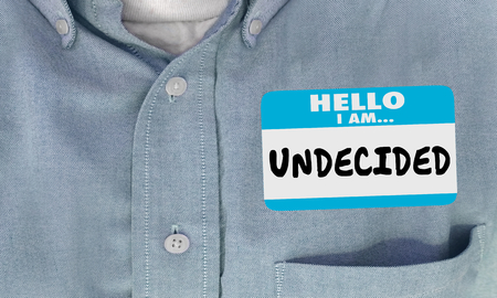 Undecided Unsure Uncertain Still Thinking Name Tag 3d Illustration