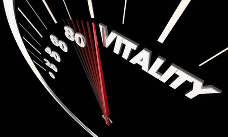 Vitality Energy Power Strength Speedometer Word 3d Illustration