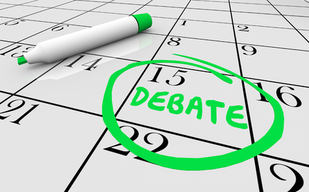 Debate Team Competition Day Circled Calendar Date 3d Illustration