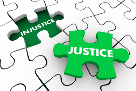 Justice Vs Injustice Fight for Fairness Rights Puzzle 3d Illustration Stock Photo