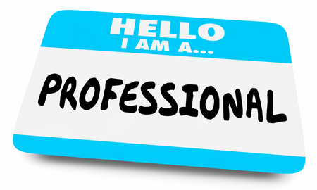Pro Professional Expert Hello Name Tag 3d Illustration