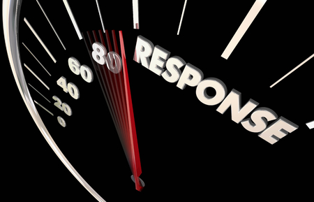 Response Time Rate Answer Responsive Service Speedometer Word 3d Illustration Banque d'images - 107348096