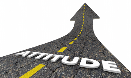 Attitude Positive Outlook Good Vision Road Word 3d Illustration