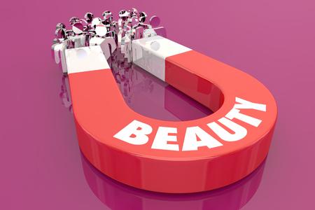 Beauty Pretty Appearance Magnet Pulling People 3d Illustration Stock fotó