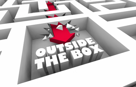 Outside the Box Thinking Unique Creative Maze 3d Illustration Stock Photo
