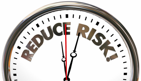 Reduce Risk Reducing Liability Danger Time Clock 3d Illustration Фото со стока