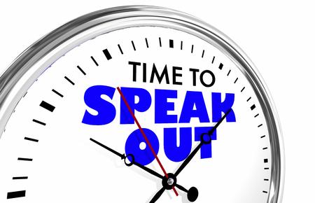 Il est temps de parler de protestation Stand Up Clock Words Illustration 3d