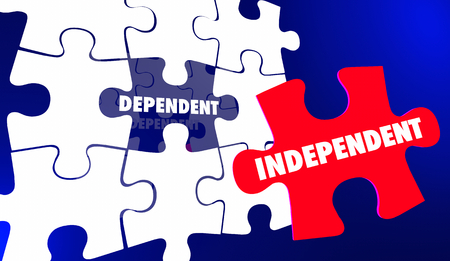 Independence Vs Dependent Self Reliant Puzzle Words 3d Illustration 写真素材
