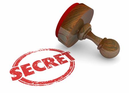 Secret Classified Confidential Word Stamp 3d Illustration Stock fotó