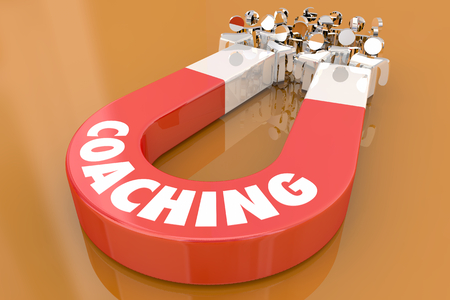 Coaching Motivate Inspire Leadership Magnet Pulling People 3d Illustration Banque d'images - 107650023
