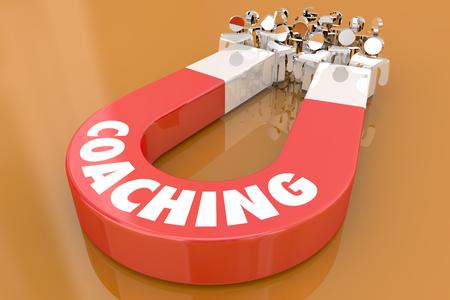 Coaching Motivate Inspire Leadership Magnet Pulling People 3d Illustration Imagens