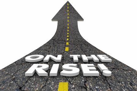 On the Rise Upward Trend Increase Rising Road Words 3d Illustration 版權商用圖片 - 107650026
