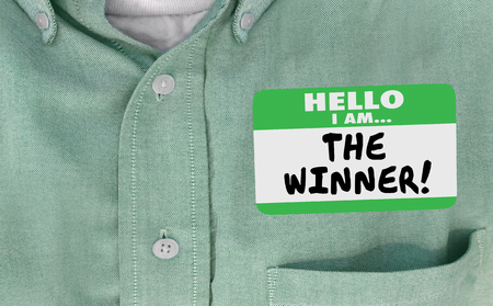 The Winner Best Top Victory Hello Name Tag 3d Illustration