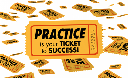 Practice is Your Ticket to Success Preparation Succeed 3d Illustration Stock fotó
