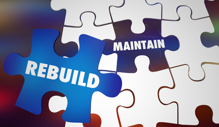 Rebuild Vs Maintain Renovate Replace with New Puzzle Words 3d Illustration Stock Photo