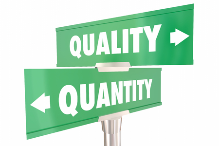 Quality Vs Quantity Choices 2 Two Way Road Signs 3d Illustration